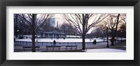 Group of people in a public park, Frog Pond Skating Rink, Boston Common, Boston, Suffolk County, Massachusetts, USA Fine Art Print