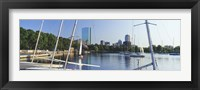 Sailboats in a river with city in the background, Charles River, Back Bay, Boston, Suffolk County, Massachusetts, USA Fine Art Print