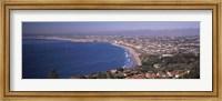 Aerial view of a city at coast, Santa Monica Beach, Beverly Hills, Los Angeles County, California, USA Fine Art Print