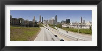 Vehicles moving on the road leading towards the city, Atlanta, Georgia, USA Fine Art Print