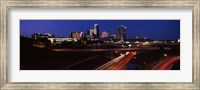 Highway interchange and skyline at dusk, Kansas City, Missouri, USA Fine Art Print