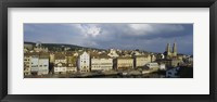 High Angle View Of A City, Grossmunster Cathedral, Zurich, Switzerland Fine Art Print