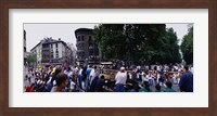 Crowd at Festival of San Fermin, running of the bulls, Pamplona, Navarre, Spain Fine Art Print