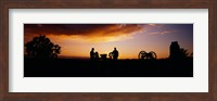 Silhouette of statues of soldiers and cannons in a field, Gettysburg National Military Park, Pennsylvania, USA Fine Art Print