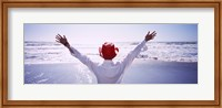Woman With Outstretched Arms On Beach, California, USA Fine Art Print