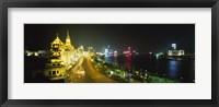 Buildings Lit Up At Night, The Bund, Shanghai, China Fine Art Print