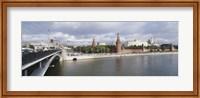 Bridge across a river, Bolshoy Kamenny Bridge, Grand Kremlin Palace, Moskva River, Moscow, Russia Fine Art Print