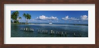 Wooden posts in the sea with a boat in background, Laughing Bird Caye, Victoria Channel, Belize Fine Art Print