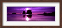 Silhouette of sea stacks at sunset, Second Beach, Washington State Fine Art Print