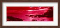 Red Sunset over the coast, Makena Beach, Maui, Hawaii Fine Art Print
