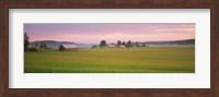 Barn and wheat field across farmlands at dawn, Finland Fine Art Print