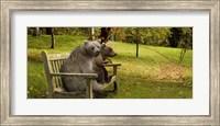 Bears sitting on a bench Fine Art Print