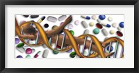 DNA surrounded by pills Fine Art Print