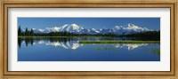 Reflection Of Mountains In Lake, Mt Foraker And Mt Mckinley, Denali National Park, Alaska, USA Fine Art Print