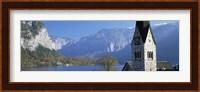Church at the lakeside, Hallstatt, Salzkammergut, Austria Fine Art Print
