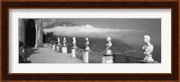 Marble busts along a walkway, Ravello, Amalfi Coast, Salerno, Campania, Italy Fine Art Print