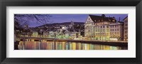 Switzerland, Zurich, River Limmat, view of buildings along a river Fine Art Print