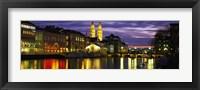 Reflection of night lights in River Limmat Zurich Switzerland Fine Art Print