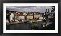 High angle view of buildings along a river, River Limmat, Zurich, Switzerland Fine Art Print