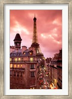 Paris Street Scene with Eiffel Tower and Red Sky Fine Art Print