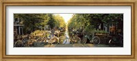 Bicycles On Bridge Over Canal, Amsterdam, Netherlands Fine Art Print