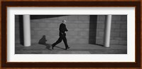 Side Profile Of A Businessman Running With A Briefcase, Germany Fine Art Print