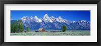 Barn On Plain Before Mountains, Grand Teton National Park, Wyoming, USA Fine Art Print