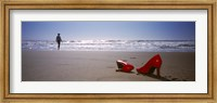 Woman And High Heels On Beach, California, USA Fine Art Print