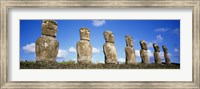 Row of Stone Heads, Easter Islands, Chile Fine Art Print