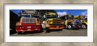 Buses Parked In A Row At A Bus Station, Antigua, Guatemala Fine Art Print