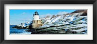 Lighthouse along the sea, Castle Hill Lighthouse, Narraganset Bay, Newport, Rhode Island (horizontal) Fine Art Print