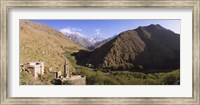 Ruins of a village with mountains in the background, Atlas Mountains, Marrakesh, Morocco Fine Art Print