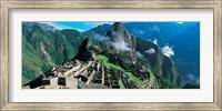 High angle view of ruins of ancient buildings, Inca Ruins, Machu Picchu, Peru Fine Art Print