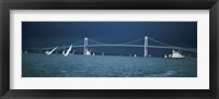 Storm approaches sailboats racing past Rose Island lighthouse and Newport Bridge in Narragansett Bay, Newport, Rhode Island USA Fine Art Print