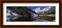 Reflection of a mountain in a lake, Maroon Bells, Aspen, Colorado Fine Art Print