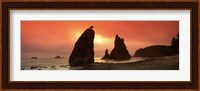 Silhouette of seastacks at sunset, Olympic National Park, Washington State Fine Art Print