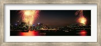 Firework display at New year's eve in a city, Cremorne Point, Sydney, New South Wales, Australia Fine Art Print