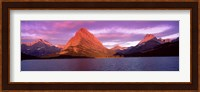 Lake with mountains at dusk, Swiftcurrent Lake, Many Glacier, US Glacier National Park, Montana, USA Fine Art Print