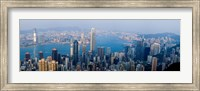 Skyscrapers in a city, Victoria Harbour, Hong Kong, China Fine Art Print