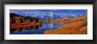 Reflection of mountains in the river, Mt Moran, Oxbow Bend, Snake River, Grand Teton National Park, Wyoming, USA Fine Art Print