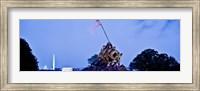 Iwo Jima Memorial at dusk with Washington Monument in the background, Arlington National Cemetery, Arlington, Virginia, USA Fine Art Print
