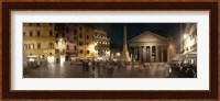 Town square with buildings lit up at night, Pantheon Rome, Piazza Della Rotonda, Rome, Lazio, Italy Fine Art Print