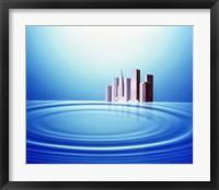 White buildings float behind large water rings bright light overhead Fine Art Print