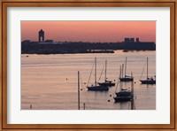 Boats in the sea, Logan International Airport, Boston Harbor, Boston, Massachusetts, USA Fine Art Print