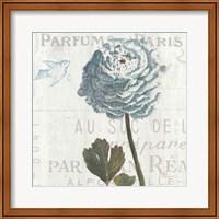 Floral Messages on Wood I Blue Fine Art Print