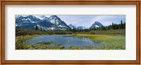 Lake with mountains in the background, US Glacier National Park, Montana, USA Fine Art Print
