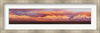 Sunset over mountain range, Sangre De Cristo Mountains, Taos, Taos County, New Mexico, USA Fine Art Print