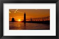 Grand Haven Lighthouse at sunset, Grand Haven, Michigan, USA Fine Art Print