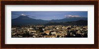 Aerial view of a city a with mountain range in the background, Popocatepetl Volcano, Cholula, Puebla State, Mexico Fine Art Print