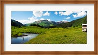 Man camping along Slate River, Crested Butte, Gunnison County, Colorado, USA Fine Art Print